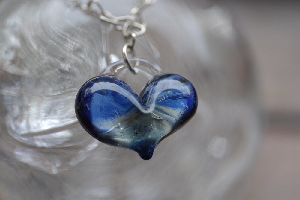 Deep Blue Glass Heart Necklace on sterling silver heart chain with heart clasp