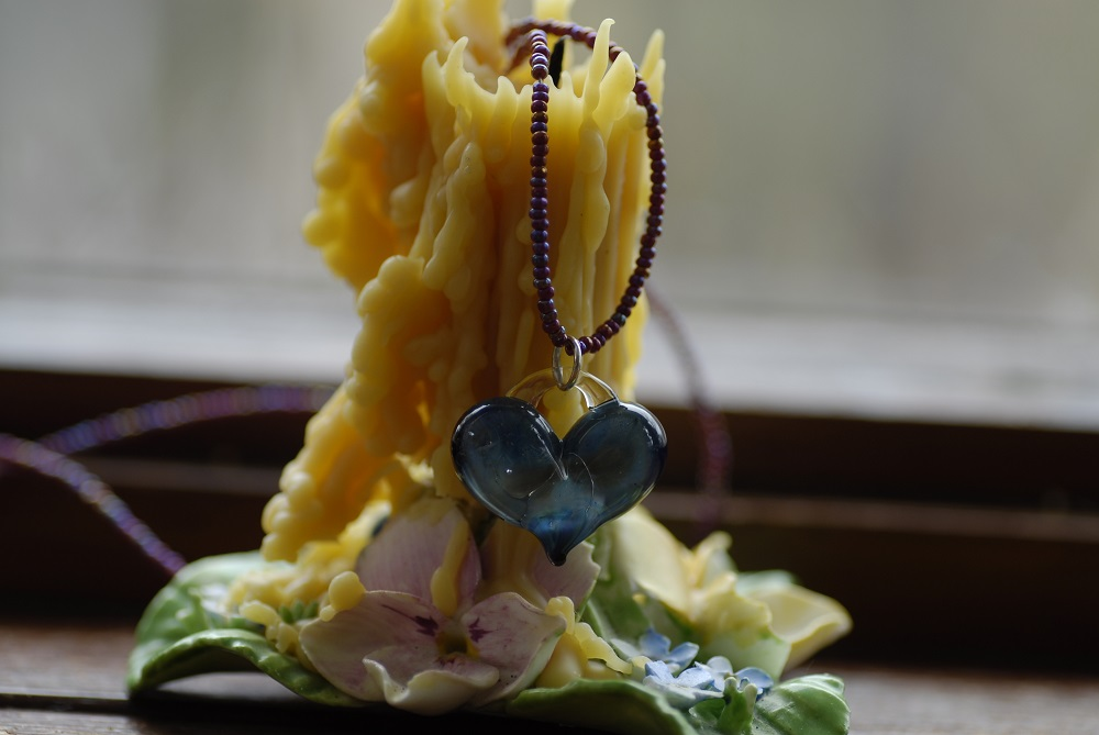 Deep Blue Glass Heart Necklace